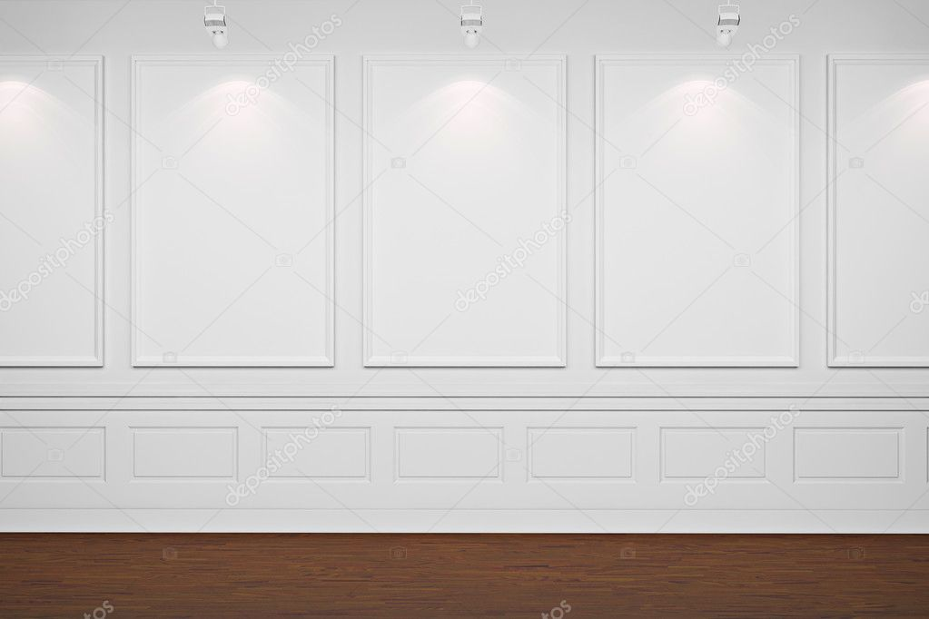 3d blank frames on white walls — Stock Photo #5344533