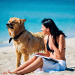 Stock Photo: Beautiful young womand dog on beach