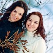 Girls twins near river in winter — Stock Photo
