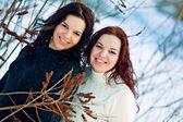 在冬天河附近的女孩双胞胎 — 图库照片