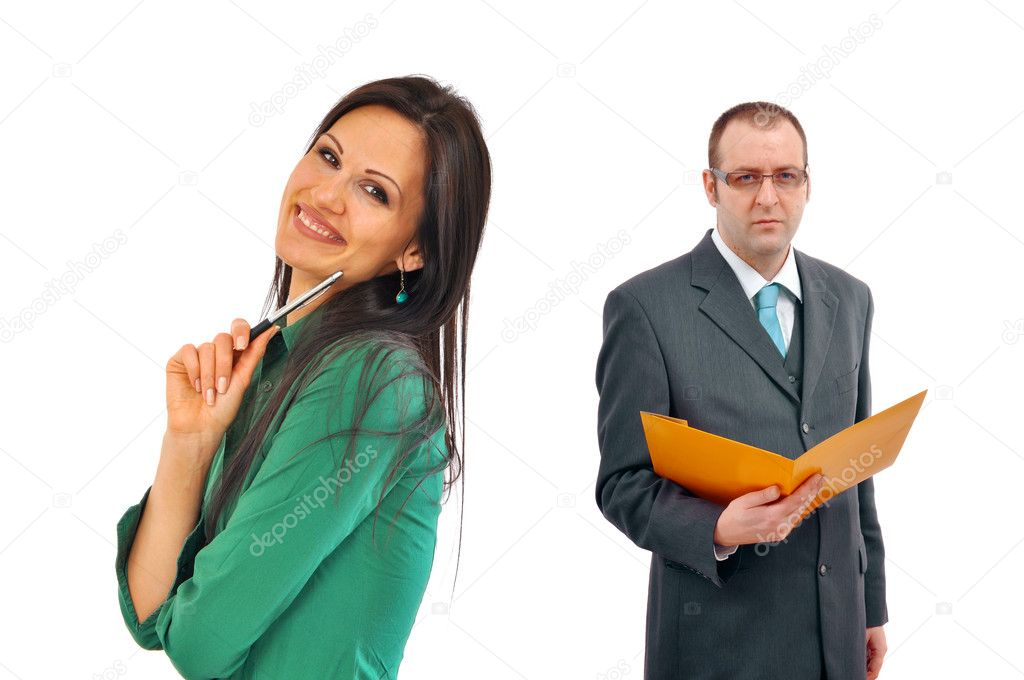 Young and beautifu, cheerfull business woman and her male boss — Stock Photo #4722592