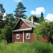 Wooden house in the woods — Stock Photo