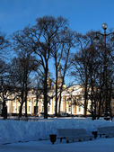 Art Square, St. Petersburg. View of the Russian Museum and the dome of the — Stock Photo