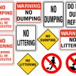 Set of No Dumping or Littering Signs - Stock Vector