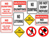 Set of No Dumping or Littering Signs — Stock Vector