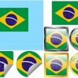 Stock Vector: Flag Set Brazil