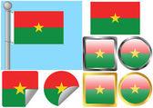 Flag Set Burkina Faso — Stock Vector