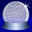 Snowglobe on a Blue Steel Base With Falling Snow — Stock Vector
