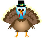 Cartoon thanksgiving kalkoen — Stockvector