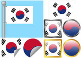 Flag Set South Korea — Stock Vector