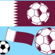 Soccer Football with Flag of Qatar — Stock Vector