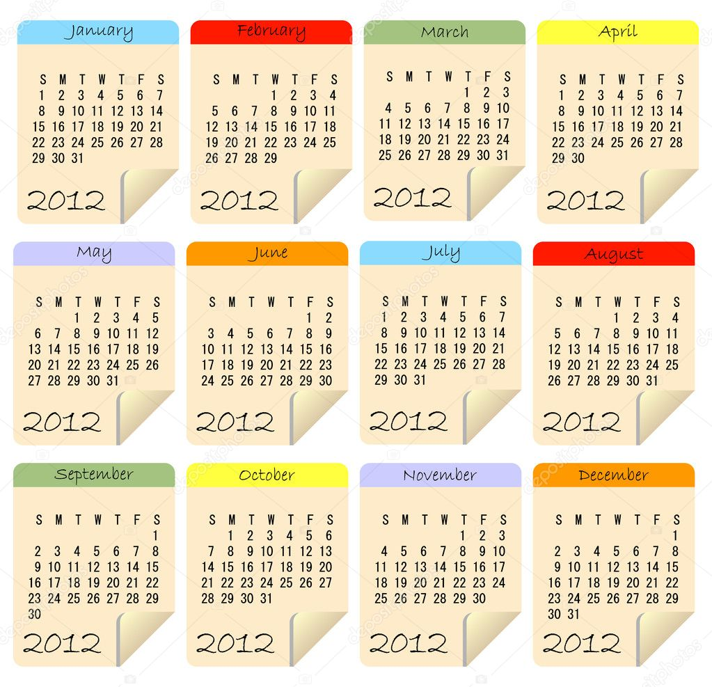 2012 Calendar  Imagen vectorial #4558539