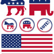Set of United States Political Party Symbols — Stock Vector #4851599