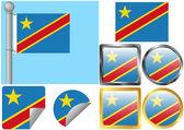 Flag Set Democratic Republic of the Congo — Stock Vector
