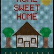 Home Sweet Home Cross Stitch Background — Stock Vector