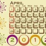 2012 Retro Style Calendar Set 1 April — Stock Vector