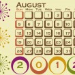 Royalty-Free Stock Vektorgrafik: 2012 Retro Style Calendar Set 1 August