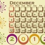 2012 Retro Style Calendar Set 1 December — Stock Vector