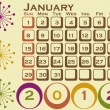 2012 Retro Style Calendar Set 1 January - Stock Vector