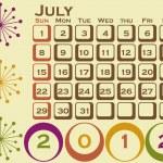 2012 Retro Style Calendar Set 1 July — Stock Vector