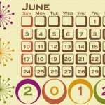 2012 Retro Style Calendar Set 1 June — Stock Vector