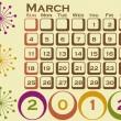 2012 estilo retro calendario establecido el 1 marzo — Vector de stock