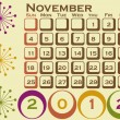 2012 Retro Style Calendar Set 1 November — Stock Vector