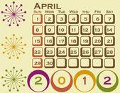 Calendario stile retrò 2012 impostata il 1 agosto — Vettoriale Stock