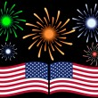 Stock Vector: Fourth of July Fireworks Background