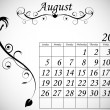 2012 Calendar Set 2 Decorative Flourish August — Stock Vector