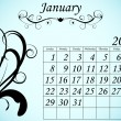 2012 Calendar Set 2 Decorative Flourish January — Vector de stock