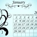 2012 Calendar Set 2 Decorative Flourish January — Stock Vector