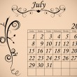 2012 Calendar Set 2 Decorative Flourish July — 图库矢量图片