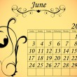 2012 Calendar Set 2 Decorative Flourish June — 图库矢量图片