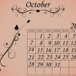 2012 Calendar Set 2 Decorative Flourish October — ストックベクタ