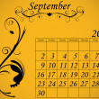 2012 Calendar Set 2 Decorative Flourish September — Stock Vector