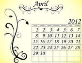 2012 Calendar Set 2 Decorative Flourish April — Stock Vector
