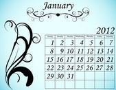 2012 Calendar Set 2 Decorative Flourish January — Wektor stockowy
