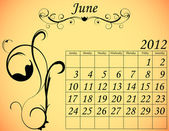 2012 Calendar Set 2 Decorative Flourish June — Stock Vector
