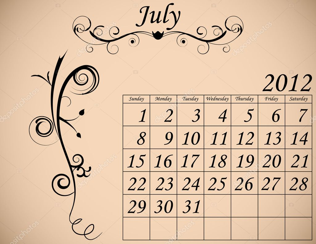 2012 Calendar Set 2 Decorative Flourish July  Stock Vector #5339316