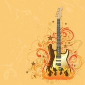 Beige background with a guitar. — Stock Vector