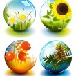 Four season spheres — Stock Vector