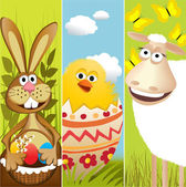Three Easter banners — Vector de stock