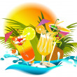 Stock Vector: Tropical drinks