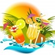 Tropical drinks - Stock Vector