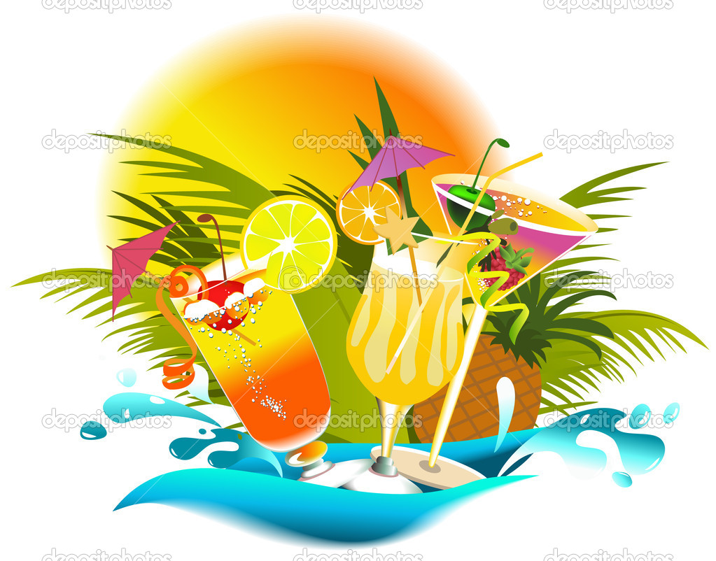 Tropical drinks with fruir decorations — Stock Vector #5130464