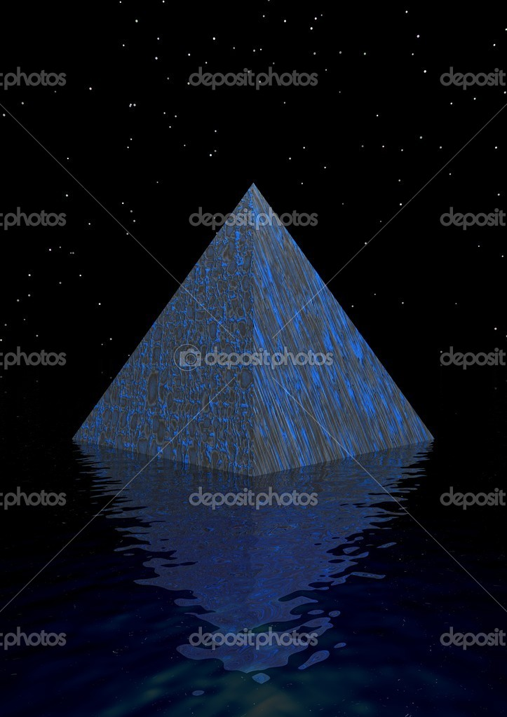 Pyramid blue and water  Stock Photo #4595391