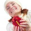 Happy smiling woman with gift — Stock Photo