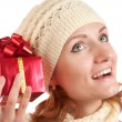 Happy smiling woman with gift — Stock Photo #4160267