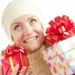 Happy smiling woman with gifts - ストック写真